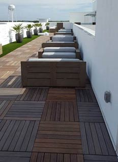 Modular Ipe wood decking tiles