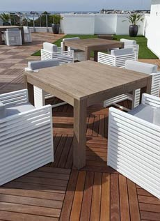 modular decking tiles on pedestals
